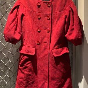 BCBGMAXAZRIA red car coat, 3/4 length sleeves